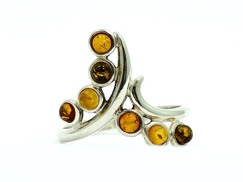 Vintage MODERNIST BALTIC Honey AMBER Chevron Sterling Silver Ring s.9
