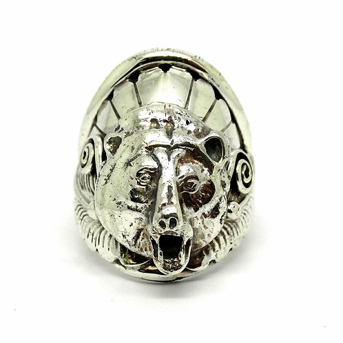 Navajo James Harrison BEAR Headdress Silver Ring