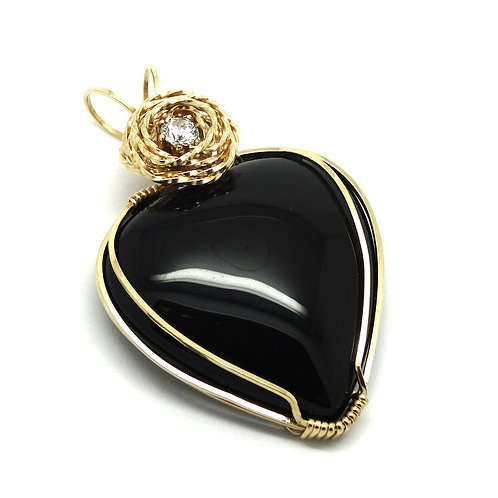 Handmade 14k Gold Filled Wire Rose CZ Black ONYX Pendant