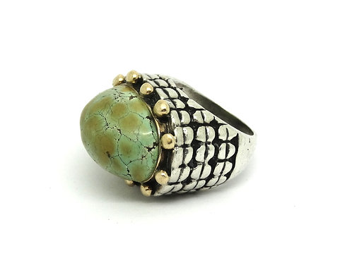 DIAN MALOUF Turquoise 925 Silver 14k Gold Ring