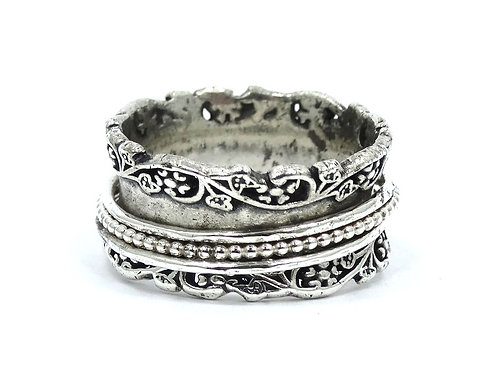 PZ ISRAEL Sterling Silver Lady's Floral Spinner Ring Band 925