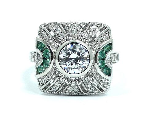 Art Deco Reproduction JOE ESPOSITO ESPO CZ Diamond Emerald Sterling Silver Ring