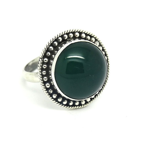 Cabochon Green Chrysoprase Sterling Silver Ring