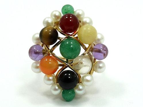 Vintage MING'S Honolulu AKOYA PEARL JADE Amethyst Agate Cluster 14k Gold Ring