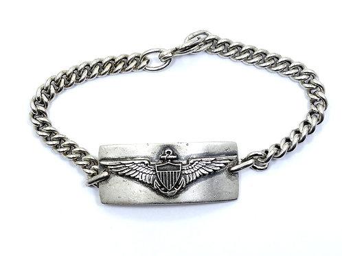 1940's WW2 Naval & Marine AVIATOR ID Sterling Silver Sweetheart Bracelet