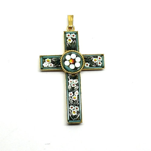 Italy MICRO MOSAIC Floral Inlay Gold Tone Cross