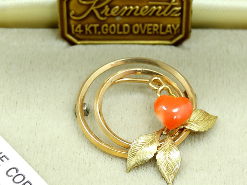 Vintage KREMENTZ Angelskin Pink CORAL Heart 14k Gold Overlay Brooch Pin