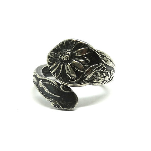 Sterling Silver AG Bypass Floral Spoon Ring S-8.5