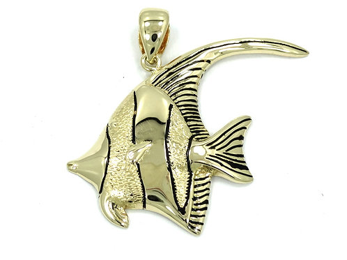 ANGELFISH Black Enamel 14k Fish Pendant Charm