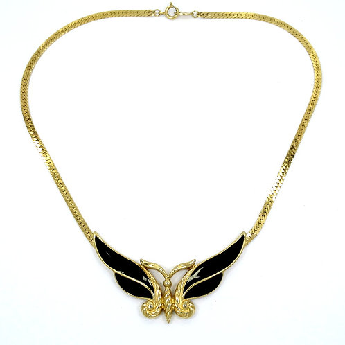 Vintage Old TRIFARI TM Black Enamel BUTTERFLY Gold Plate Necklace