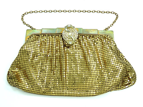 Whiting & Davis Gold Plated MESH CLUTCH PURSE with Rhinestone Buckle Clasp