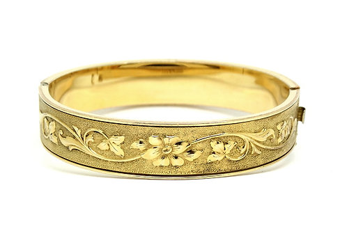 Antique Victorian HAYWARD Repousse TAILLE D'EPARGNE 12k 1/20 Gold Filled Bangle