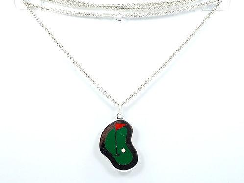 Vintage TIFFANY & CO GOLF PUTTING GREEN Enamel Sterling Silver Pendant Necklace