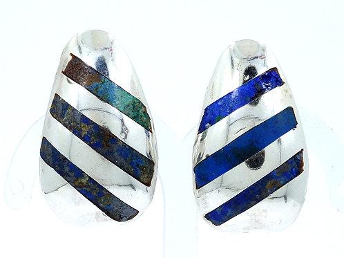 1950's ENRIQUE LEDESMA PLATERIA CORTES Inlaid LAPIS LAZULI 925 Silver Earrings