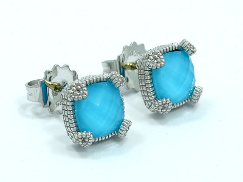 JUDITH RIPKA - ECLIPSE Turquoise Diamond 18k Gold 925 Silver Earrings Studs