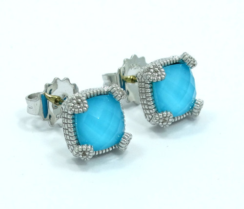 bf69a6884 JUDITH RIPKA - ECLIPSE Turquoise Diamond 18k Gold 925 Silver Earrings Studs