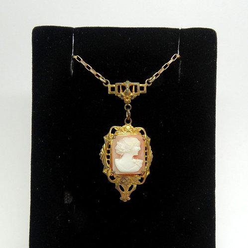 Grandma's WHITE CO. Art Deco G.F. Cameo Necklace