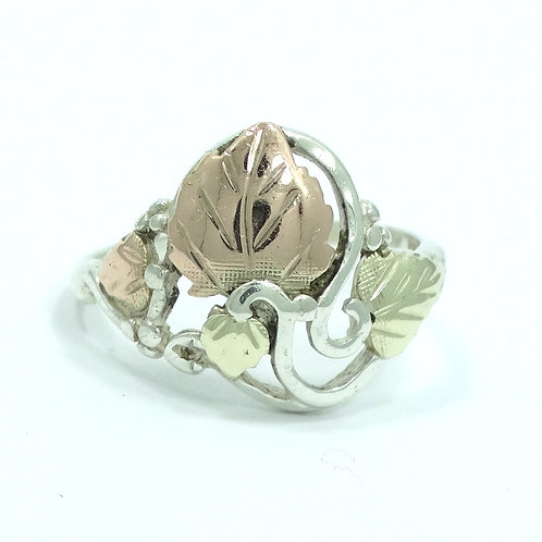 Vintage RGC 12K BLACK HILLS GOLD Grapes & Leaves 925 Sterling Silver Ring s.8