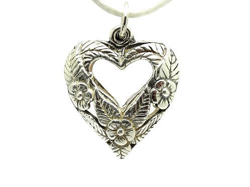Jezlaine DAISY FLOWER HEART Sterling Silver JEZ Pendant
