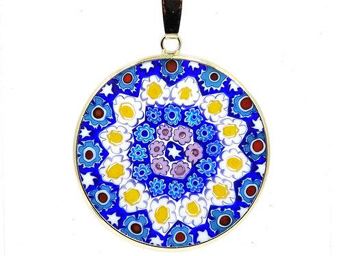 Venice Murano MILLEFIORI Art Glass Mosaic Flower 18K Gold 750 Pendant