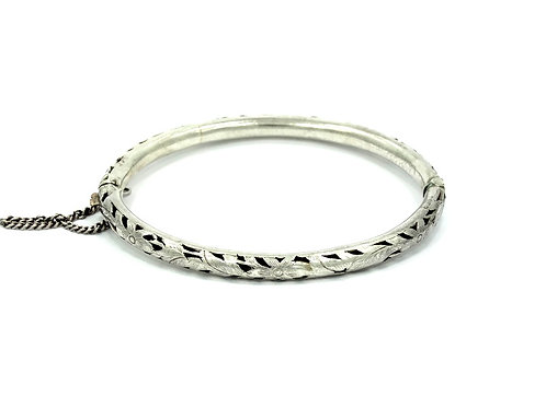 Old Chinese Polynesian Hawaiian Cut-Out Flower Sterling Silver Bangle Bracelet