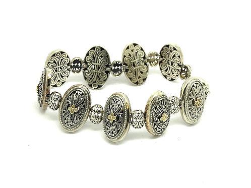 14k Gold Sterling Silver Floral Filagree Bracelet