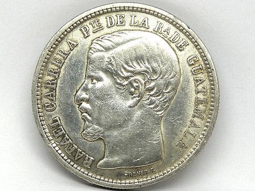 1864 R GUATEMALA Silver UN PESO ERROR COIN!