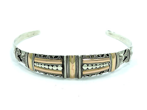 Vintage BALI Indonesia Unisex 14k Rose Gold / 925 Sterling Silver Cuff Bangle