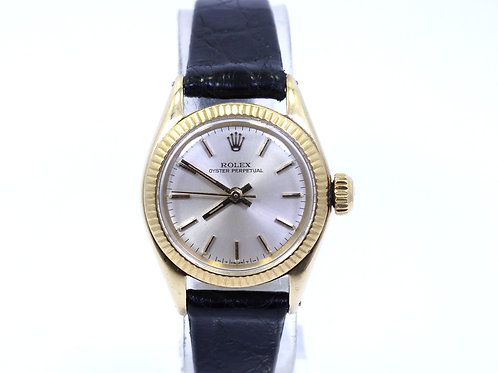 Vintage 1963 ROLEX Oyster Perpetual 6618 Automatic 14k Yellow Gold Watch 24.5 mm