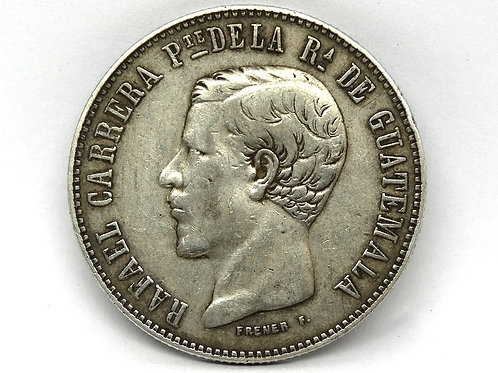 1860 R GUATEMALA 4 Reales .903 Silver KM#136