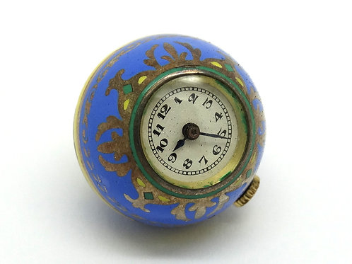 Antique Enamel ORB GLOBE 935 Silver Pendant Watch