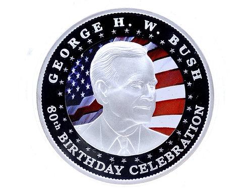 2004 GEORGE H. BUSH 80TH BIRTHDAY Perth Mint 2 Oz 999 Silver Coin
