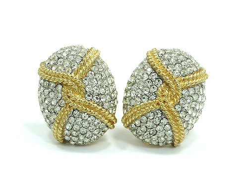 HUGE STATEMENT Vintage CINER Signed White Rhinestone Clip On Earrings