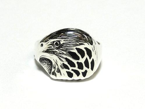 Sterling Silver BALD EAGLE HEAD Black Enamel Ring