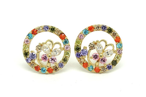 14k Gold Circular Multi Colored BUTTERFLY Earrings