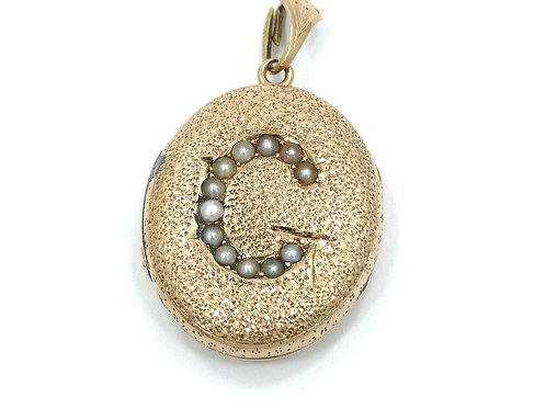 "Antique ART NOUVEAU 14k Gold & Seed Pearl ""G"" Locket w/ glass Pendant"