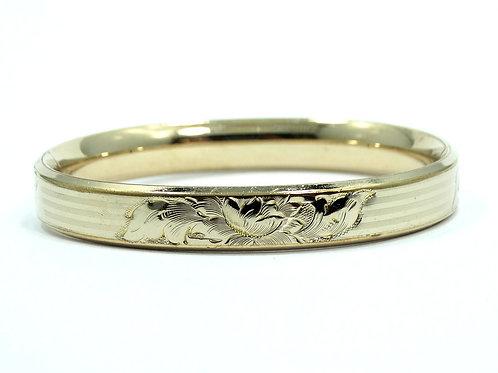 Antique Victorian JFSS Etched Filigree Gold Filled Hinge Bangle Bracelet