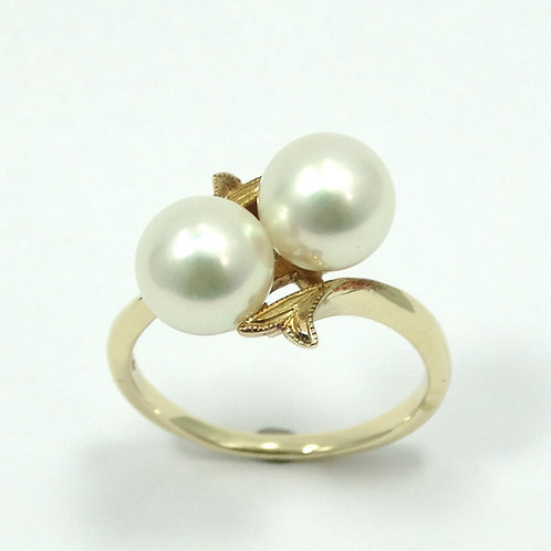 Gorgeous Vintage MIKIMOTO Double AKOYA JAPANESE 7mm PEARL Filigree 14K Ring s.6
