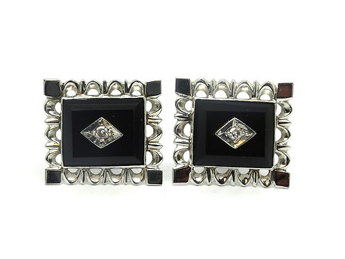 Vintage TYL DIAMOND Black Onyx 14k White Gold Cufflinks