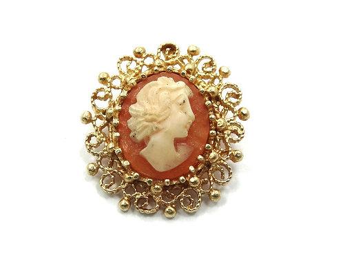 Lovely Vintage Carved CAMEO ATL 14k Gold Filigree Pendant
