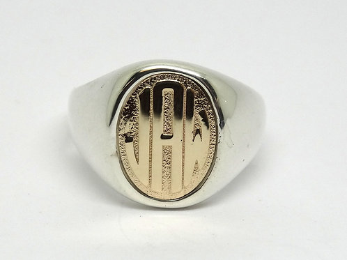 "Vintage ""JAW"" 14k Gold & Silver B.A.B. Signet Ring"