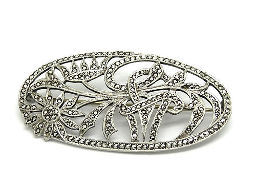 Art DECO Antique Sterling Silver Marcasite Flower Garden Bouquet Brooch Pin