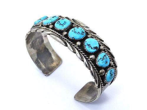 Navajo JAMES SHAY JS Blue Kingman TURQUOISE Sterling Silver Cuff Bangle Bracelet