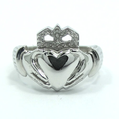 CLADDAGH Heavy 14k IRISH WEDDING RING Celtic Love White Gold Band 7.5