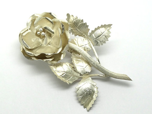 Vintage Mexico Taxco LCT Sterling Silver ROSE BUD BRANCH Brooch Pin