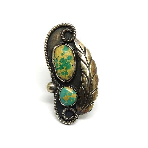 Natural Turqouise NAVAJO GF Leaf 925 Silver Ring