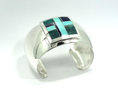 RAY TRACEY KNIFEWING Inlay Turquoise Square CROSS Sterling Silver Cuff Bangle