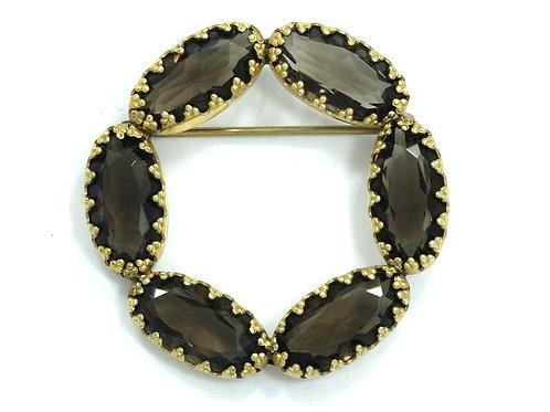 Vintage JMS Smoky Quartz Circle 12k 1/20 G.F. Gold Filled Brooch Pin