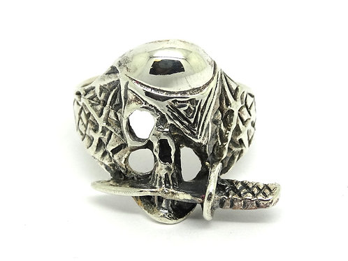 One Eyed Willie PIRATE SKULL Sterling Silver Ring