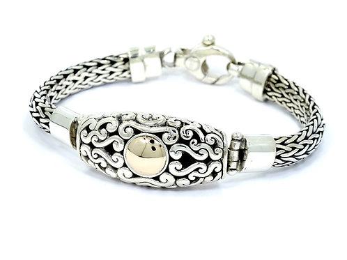"""Mens Vintage Signed """"de"""" Sterling Silver & 14k Gold ID Weave Link Bracelet 8.5"""""""